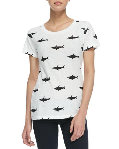 Sonny Slub Shark Print Tee, White/Black