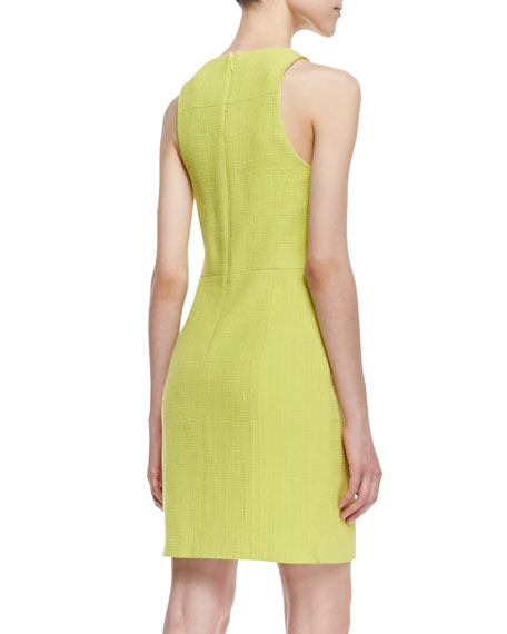 Sleeveless Basketweave Tweed Sundress, Light Yellow