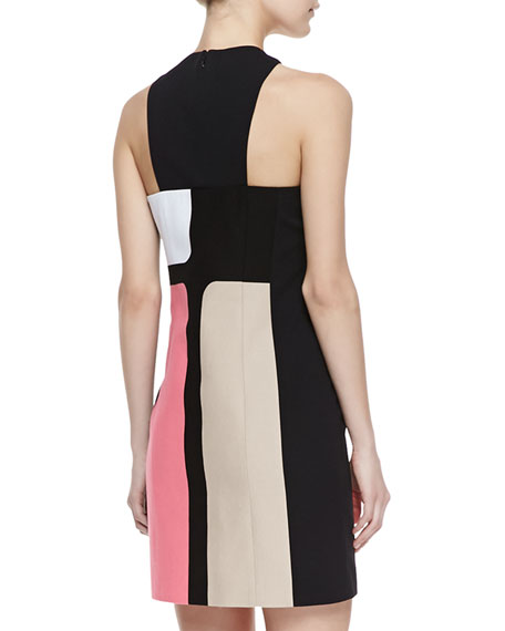 Colorblocked Crepe Dress, Azalea