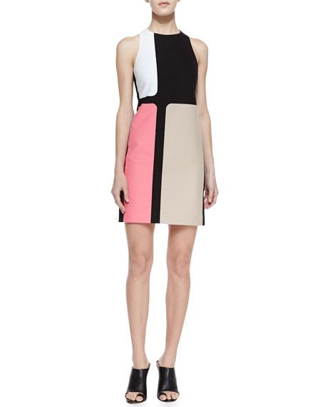 Colorblocked Crepe Dress, Azalea