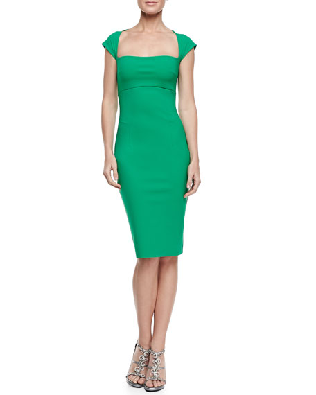Cap-Sleeve Square-Neck Cocktail Dress, Jade