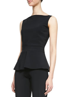 La Petite Robe by Chiara Boni Niky Sleeveless Jersey Peplum Top