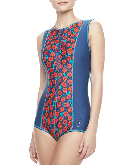Maysie Floral-Print Scuba Zip Maillot