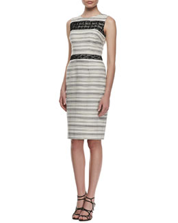 David Meister Sleeveless Tweed & Lace Cocktail Dress