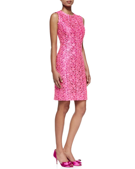 della lace sheath dress, Hot Pink