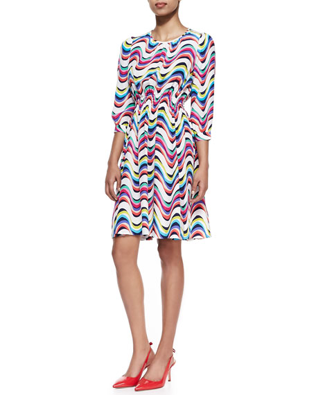 wavy striped 3/4-sleeve dress