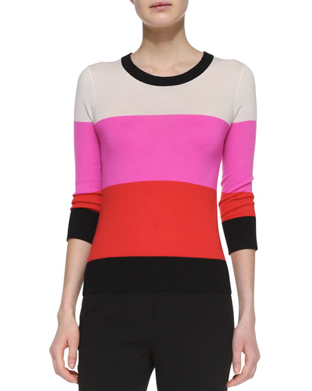 talley 3/4-sleeve striped sweater