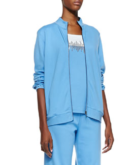 Joan Vass Interlock Stretch Zip-Front Jacket, Petite