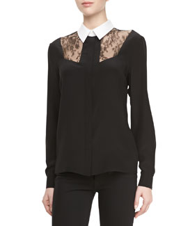 Jason Wu Silk Lace Combo Button-Down Blouse
