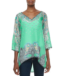 Johnny Was Collection 3/4-Sleeve Printed V-Neck Tunic