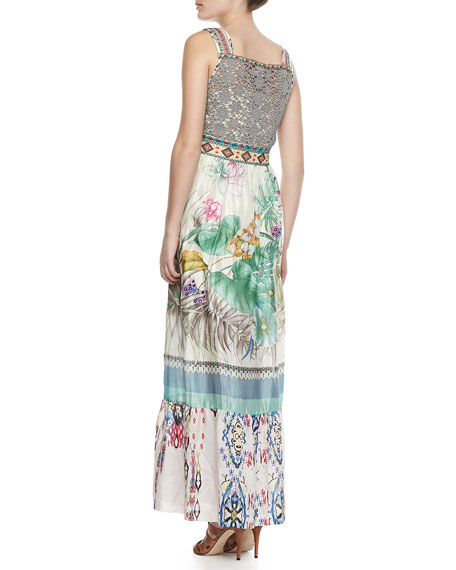 Blue Springs Printed Silk Dress, Women's