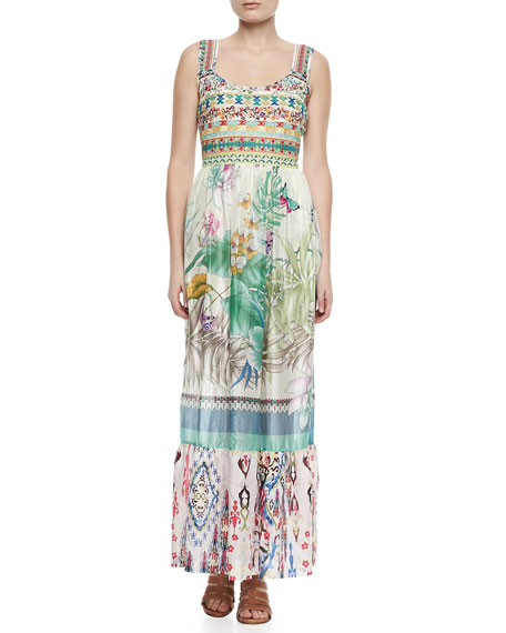 Blue Springs Printed Silk Maxi Dress