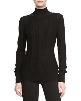Jason Wu Long-Sleeve Cable-Knit Turtleneck Sweater