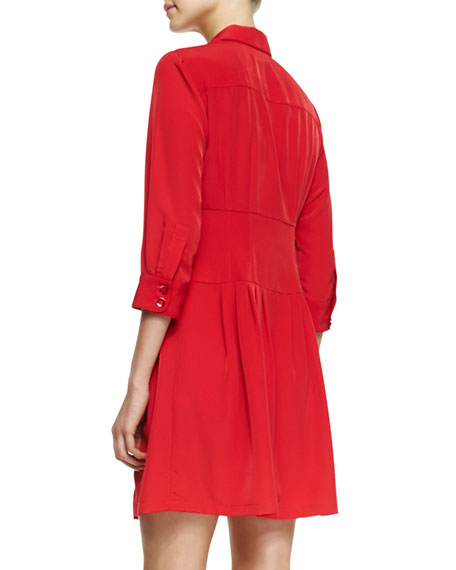 Rendezvous Pleated Button-Front Shirtdress