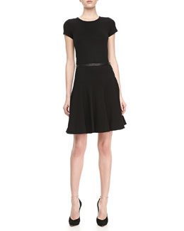 Jason Wu Leather-Trim Ponte Flounce Skirt