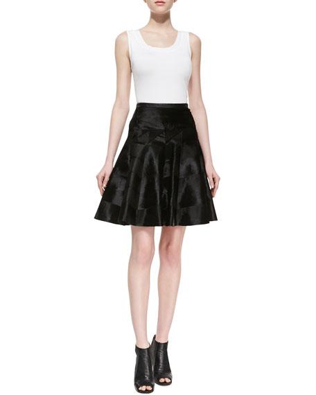 Lambskin Leather & Goat Hair Flounce Skirt, Black
