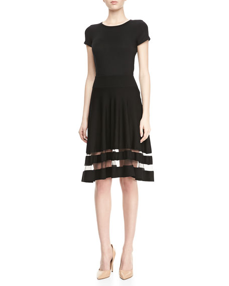 Shadow-Stripe Flounce Skirt