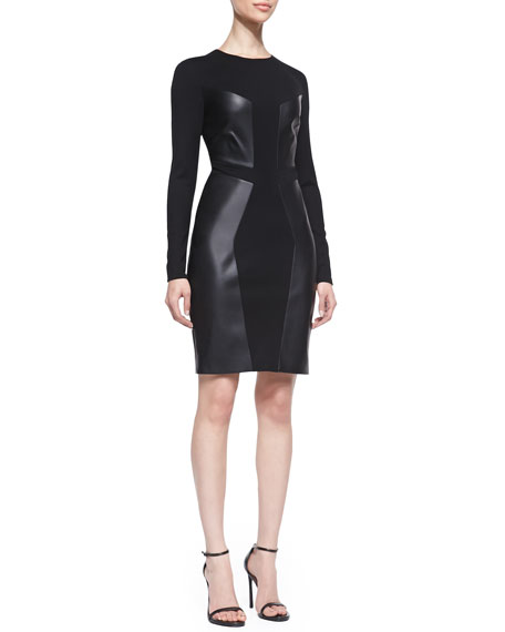Paneled Leather & Ponte Dress