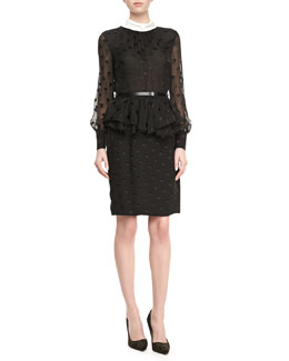 Jason Wu Dot-Chiffon Peplum Dress