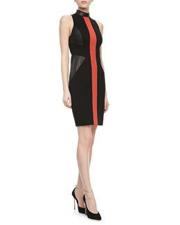 Jason Wu Leather and Knit Sheath Dress