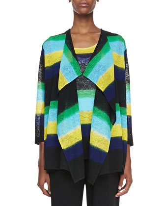 Striped Draped Knit Jacket, Petite