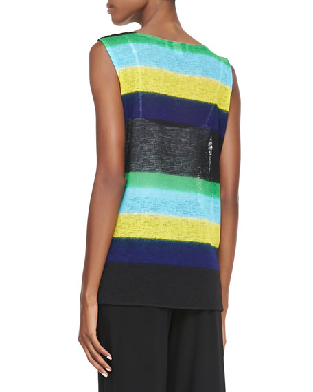 Contrast-Colored Striped Knit Tank