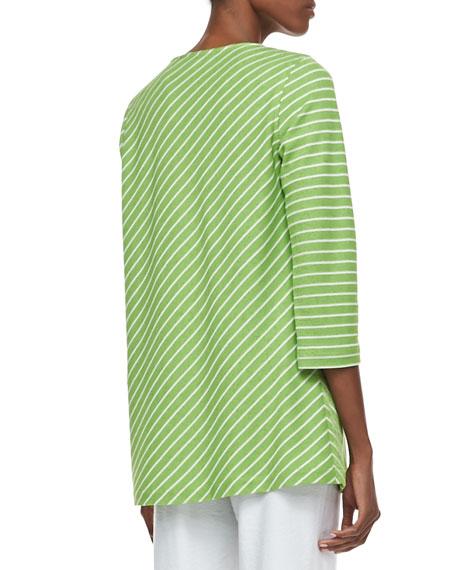 Bias-Striped Knit Tunic