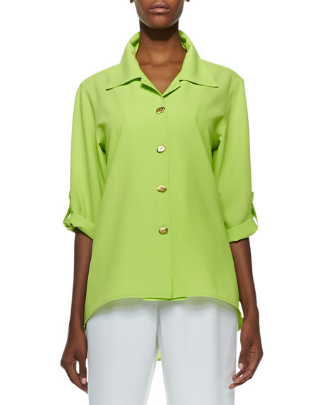 Crepe Golden-Button High-Low Shirt, Petite