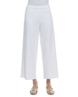 Joan Vass Cotton Interlock Wide-Leg Pants, Petite