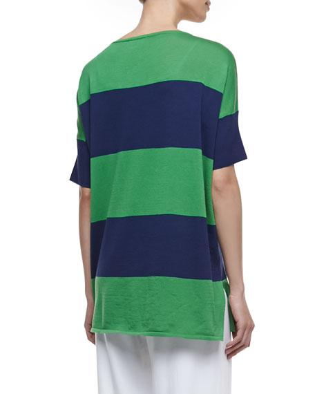 Striped Boxy Sweater, Petite