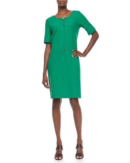 Pique Lace-Up Shift Dress, Women's