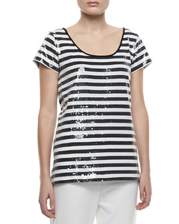 Joan Vass Sequined Striped Short-Sleeve Tee, Petite