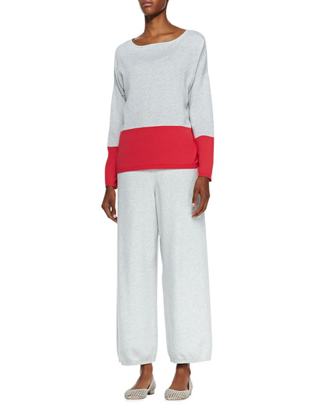 Wide-Leg Knit Pants, Soft Gray
