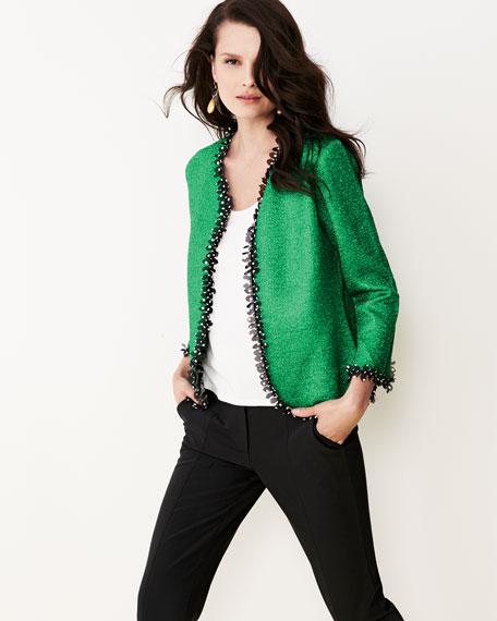 Reversible Petal-Trim Jacket, Petite
