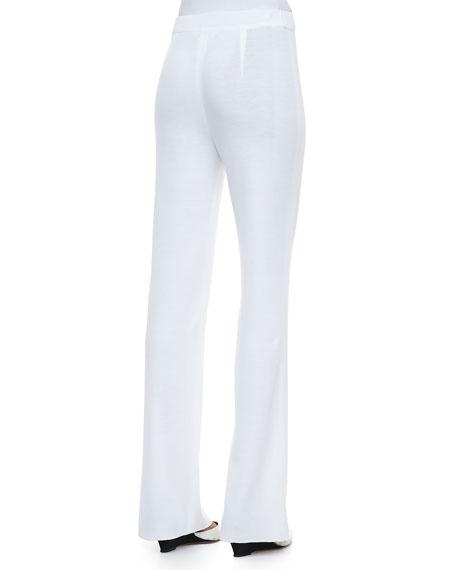 Boot-Cut Knit Pants, White