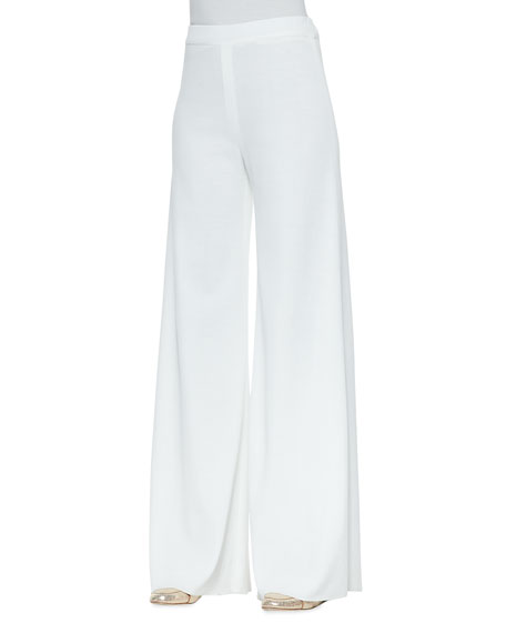 White Fit & Knit Palazzo Pants, Women's