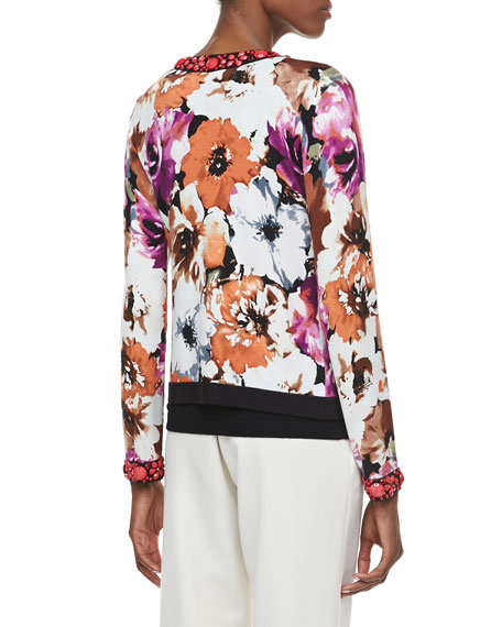 Printed Cardigan with Beading, Petite