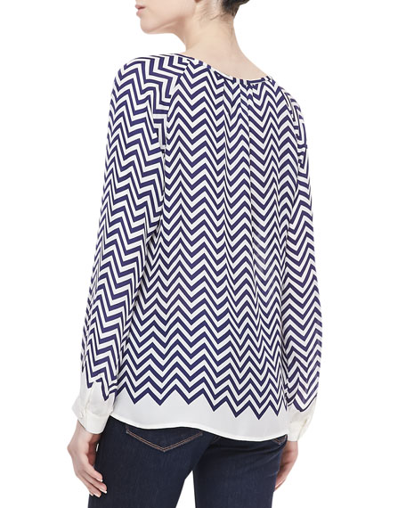 Agnella Zigzag-Print Silk Long-Sleeve Blouse