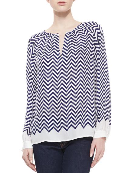 Agnella Zigzag-Print Silk Long-Sleeve Blouse
