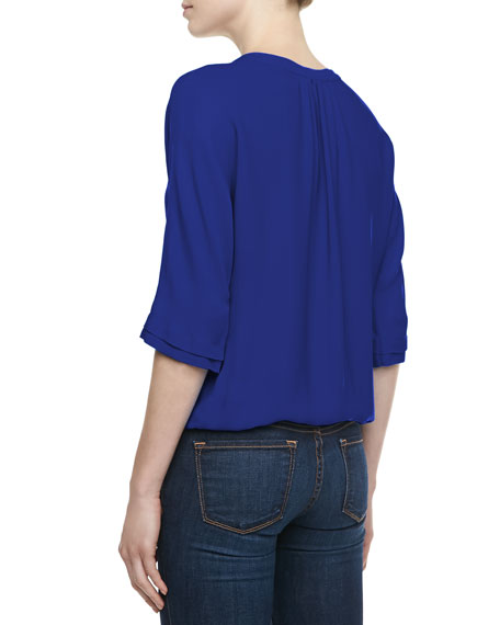Marru Pleat-Front Top, Fifties Blue