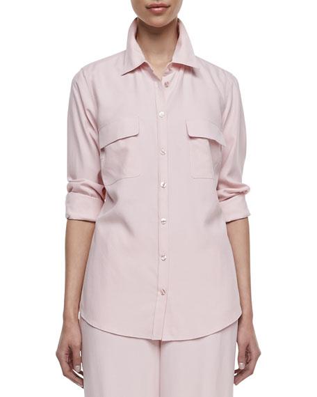 Long-Sleeve Silk Safari Shirt, Women's