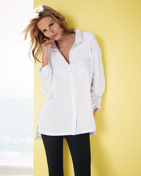 Linen Ruched-Sleeve Big Shirt