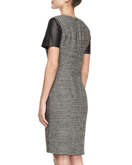 Leather Cap-Sleeve Tweed Sheath Dress