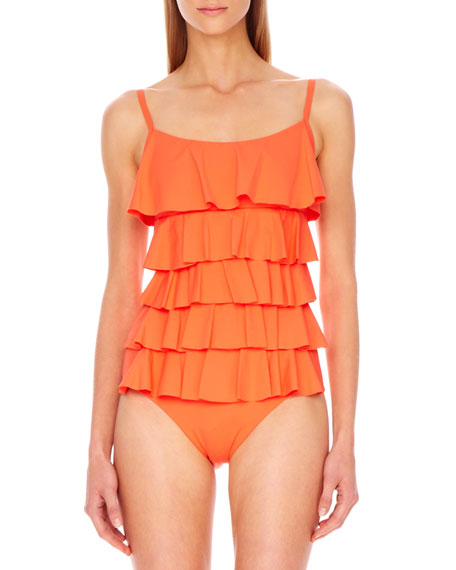 Scoop-Neck Ruffled Maillot