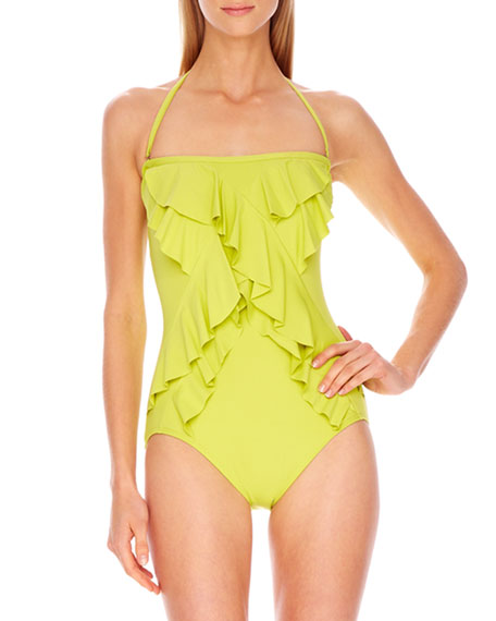 Ruffle-Front Strapless Maillot