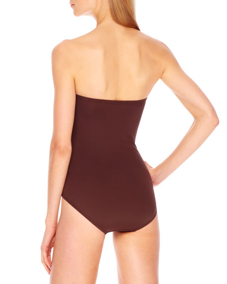 Tunisia Strapless Side-Zip Maillot