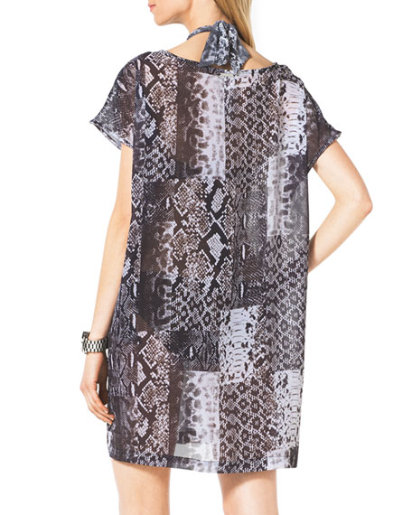 Snake-Print Coverup Dress