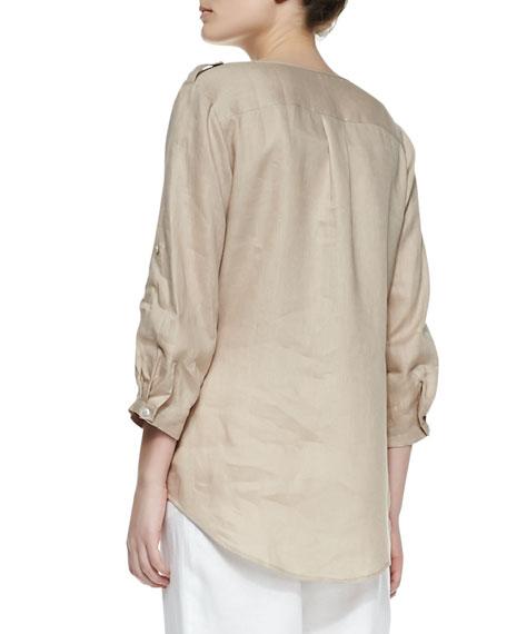 Linen Button-Front Tunic