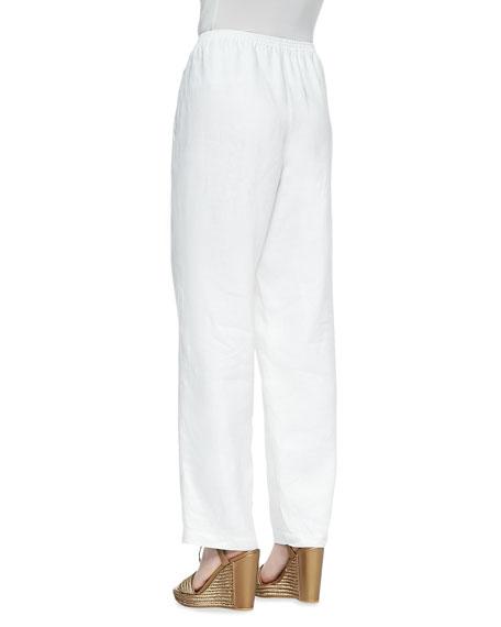 Straight-Leg Linen Pants, Petite