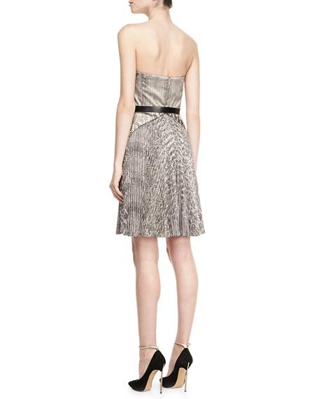 Strapless Snake-Print Belted Dress